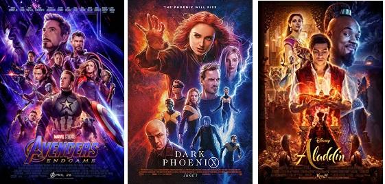 Avengers, Dark Phoenix and Aladdin posters.
