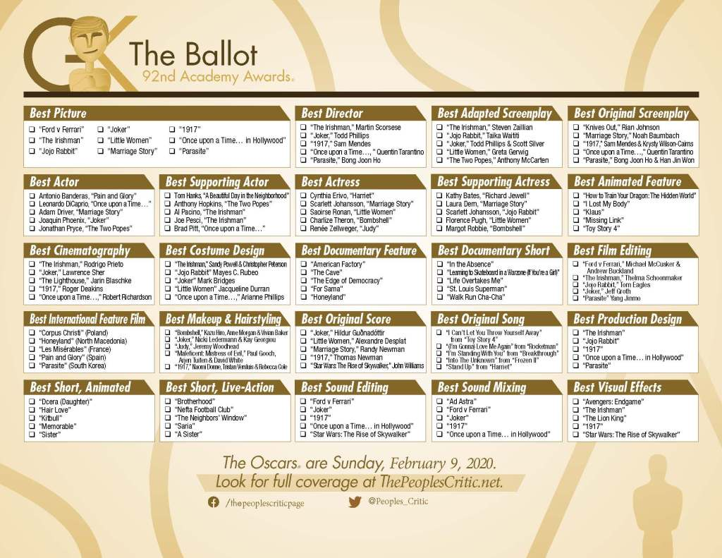 2020 Oscar Prediction Ballot